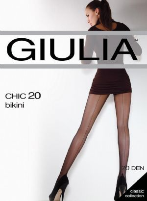 Giulia 20 Seamed Tights in Black or Nude